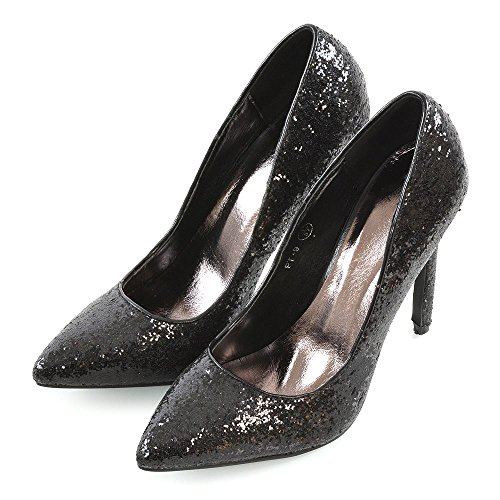 Essex Glam Dames Stiletto Hakken Glitter Punt Toe Feest Prom Schoenen Zwart Glitter
