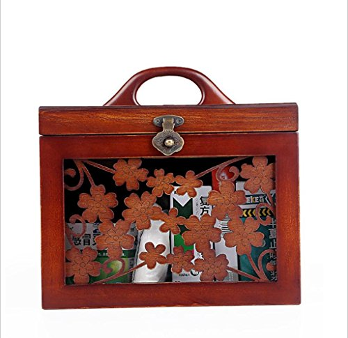 GFYWZ Solid wood Medicine box Handmade Carved Metal Latch Health care drug Storage Box Cosmetic case Gift for Storage and Home Decoration 27cm 20cm 26cm by GFYWZ
