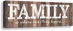 Inspirational Motto Family Rules Wall Art Signs. Vintage Canvas Print Wood Grain Background Design, Bedroom, Living room,Home Wall Decoration Plaque (6 X 16, Family)