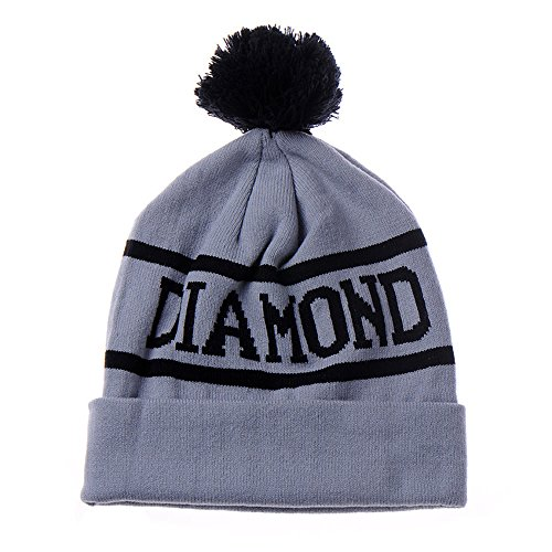 AStorePlus Unisex Simple Daily Beanie, Acrylic Diamond Word Fall/Winter Warm Knit Beanie Caps Hats, Grey & (Beanie Skate Cap Hat)
