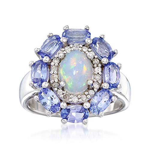 (Ross-Simons Opal and 2.00 ct. t.w. Tanzanite Ring Ring With .21 ct. t.w. Diamonds in Sterling Silver)