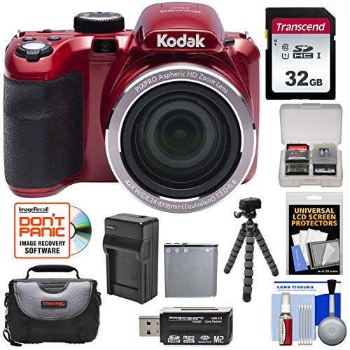 KODAK PIXPRO AZ421 Astro Zoom Digital Camera (Red) with 32GB Card + Case + Battery/Charger + Flex Tripod + Kit