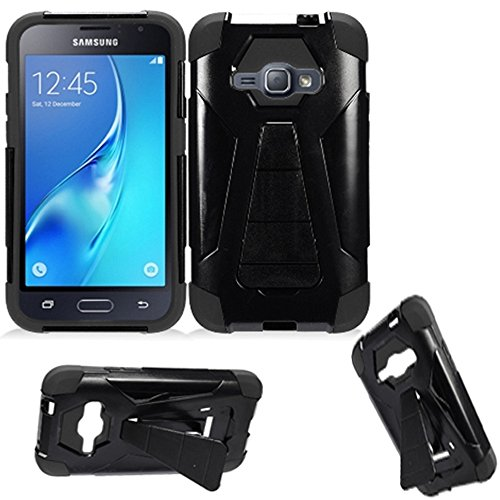 Phone Case for Straight Talk Samsung Galaxy-J1-Luna / Galaxy-Express-3 GoPhone (AT&T) / Galaxy Amp 2 4g LTE ( Cricket Wireless ) Rugged Cover Silicone Black-Black Wide Stand