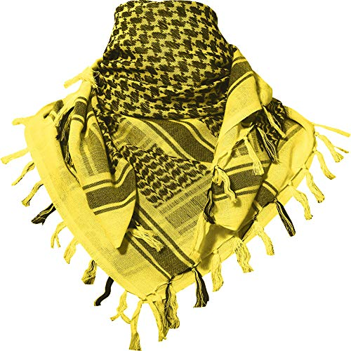 MAGNIVIT 100% Cotton Keffiyeh Tactical Desert Scarf Wrap Shemagh Head Neck Arab Scarf Yellow