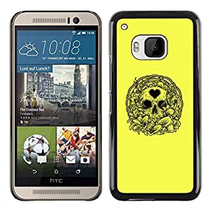 Shell-Star Arte & diseño plástico duro Fundas Cover Cubre Hard Case Cover para HTC One M9 ( Yellow Love Heart Skull Wreath Death )