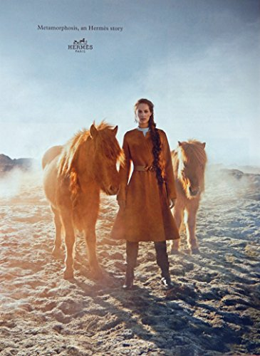 hermes-paris-print-ad-full-page-color-illustration-woman-with-horses-original-vintage-vogue-magazine