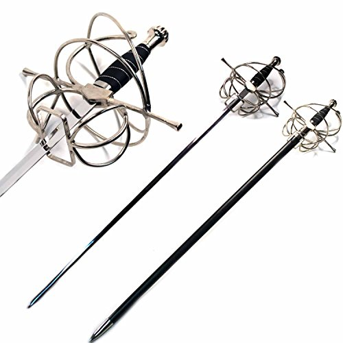 Ace Martial Arts Supply New Renaissance Rapier Fencing Sword with Swept Hilt Guard ... (Swept Hill Guard with Frog Belt)