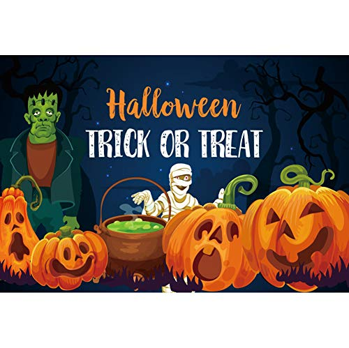YongFoto 5x3ft Halloween Trick OR Treat Backdrop Cartoon Halloween Background for Chlidren Photography Ghost Pumpkin Zombie Mummy Halloween Night Decorations Kids Portrait Photo Banner ()