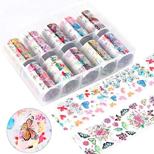 10 Rolls Butterfly Nail Art Foil Transfer Stickers Colorful Butterfly Designs Nails Decals Supply Foils Holographic Starry Sky Nail Foil Decals for Women Fingernails and Toenails Decorations Manicure