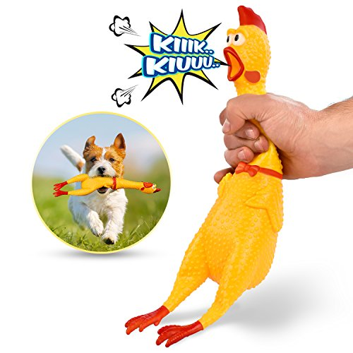 HAKOL Squeaking Chicken Toy for Kids & Pets | Rubber Squawking & Shrieking 16'' Toy for Hours of Fun ()