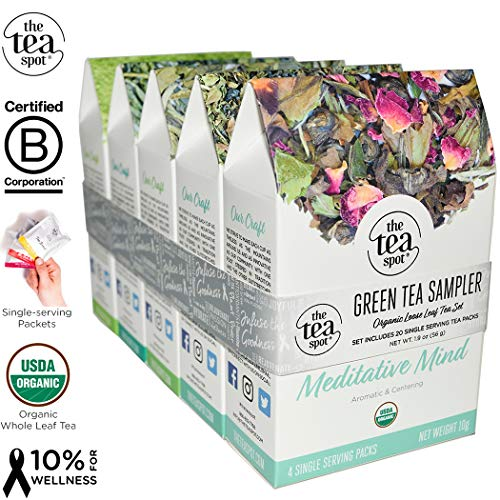 THE TEA SPOT, Organic Green Tea Sampler: 20 generous single-serving Loose Leaf Tea Packets | Organic Matcha, Sencha, Dragonwell, Moroccan Mint, Green Jasmine Rose - Simple Steeps | Net Tea wt: 1.9 oz