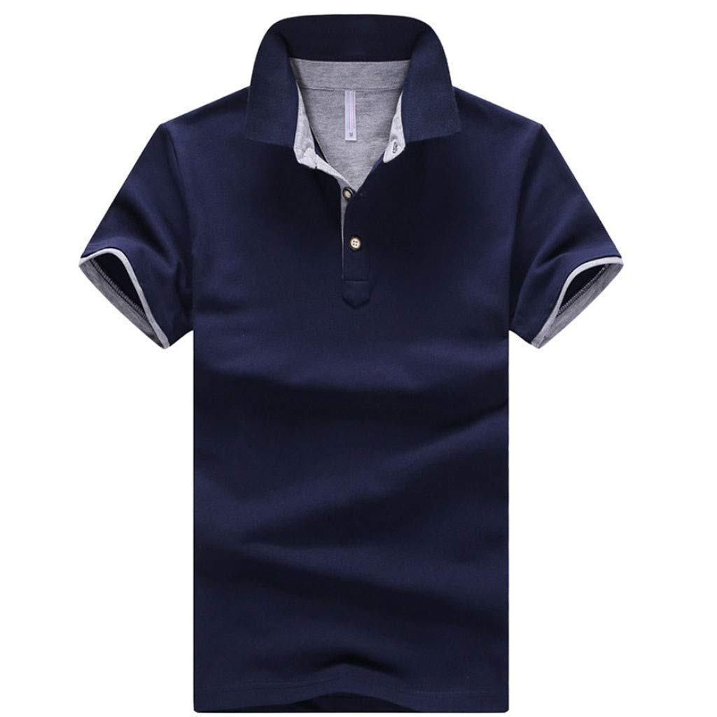 Mens Summer New Pure Collar Cotton Short Sleeves Fashion Casual Comfortable Top