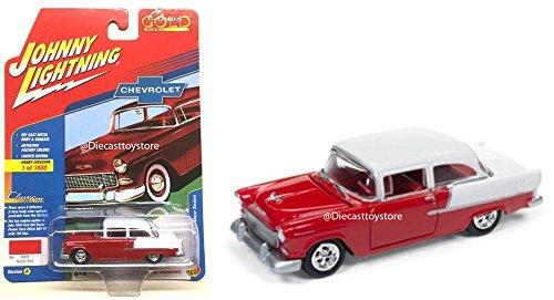 1955 Chevy 2 Door Sedan (NEW DIECAST TOYS CAR JOHNNY LIGHTNING 1:64 CLASSIC GOLD VERSION B 1955 CHEVROLET 2-DOOR SEDAN RED WHITE COLOR JLSP005-24B)