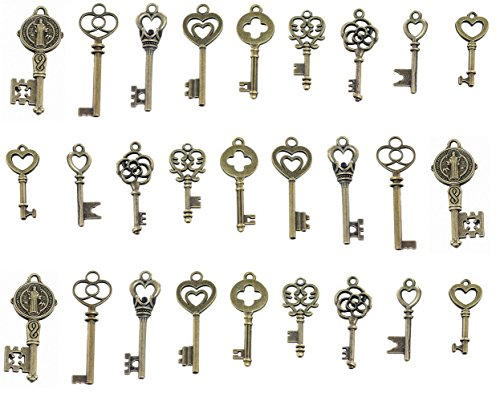 AlphaAcc Skeleton Key Charm Set in Antique Bronze Vintage 9 Different Styles - Vintage Style Key Charms Bronze (45 Charms)