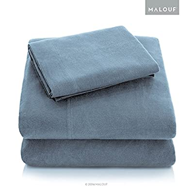 MALOUF Heavyweight Portuguese Flannel Sheet Set-100% Cotton Pill Resistant Bedding-Split King-Pacific, Split King - Crafted from the mills of Portugal, known for making the world's best flannel bedding Breathable 100 percent cotton brushed on both sides for velvet softness and cozy warmth Heavyweight flannel has durable fiber structure that resist pilling - sheet-sets, bedroom-sheets-comforters, bedroom - 5150%2BP1rKKL. SS400  -