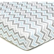 American Baby Company 100% Cotton Percale Fitted Crib Sheet for Standard Crib and Toddler Mattresses, Blue Zigzag