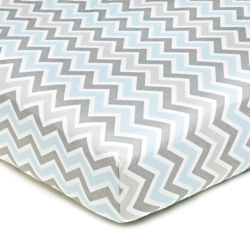 American Baby Company 100% Natural Cotton Percale Fitted Crib Sheet for Standard Crib and Toddler Mattresses, Blue Zigzag, Soft Breathable, for Boys and -