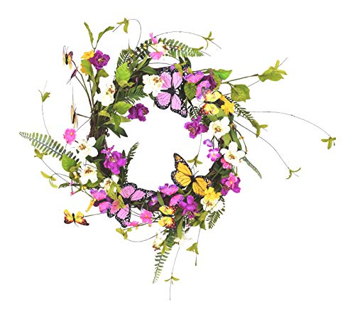 Twig Wreath Spiral - Ten Waterloo 22 Inch Wildflower Butterfly Wreath, Artificial Floral on a Natural Twig Base