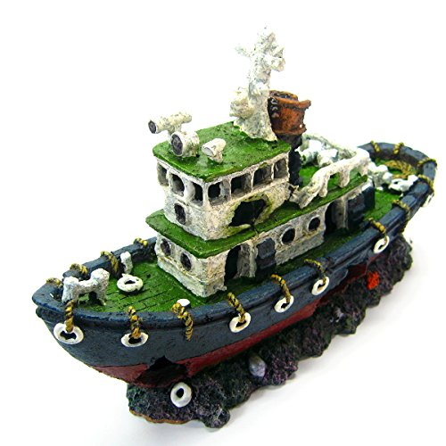 Fishing boat 11.2'' Ancient ship Aquarium Ornament Decoration Shipwreck fish tank by Aquarium Equip