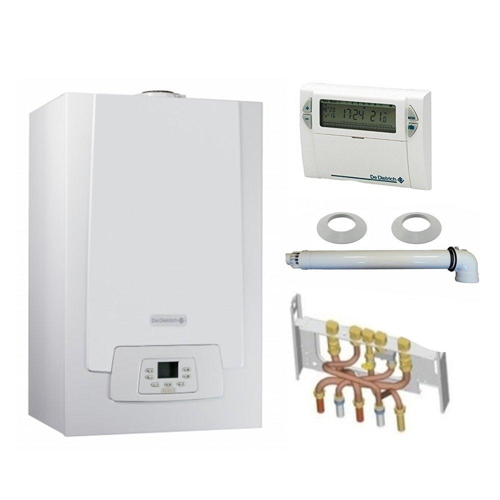 Chaudière Gaz Condensation MPX MI Compact De Dietrich 29 kW Complète (DOSSERET + DOUILLES + VENTOUSE) avec thermostat filaire