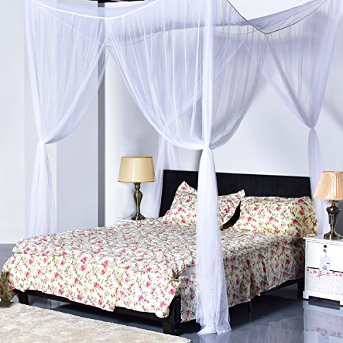 Goplus 4 Corner Post Bed Canopy Mosquito Net Full Queen King Size Netting Bedding (White)