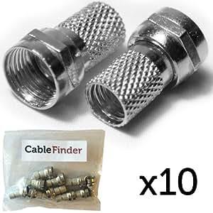 Cablefinder - Piezas de unión para conexión satélite (a rosca, para conectores F, cable de antena fino WF65 / CT63 Shotgun Dual Sky, 4,5 mm, 10 unidades)