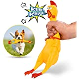 HAKOL Squeaking Chicken Toy for Kids & Pets | Rubber Squawking & Shrieking 16'' Toy for Hours of Fun