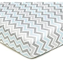 American Baby Company 100-Percent Cotton Percale Fitted Crib Sheet, Blue Zigzag
