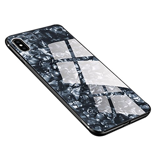 """HONTECH Compatible iPhone Xs Max 2018 6.5"""" Case, Slim Fit Silicone Shockproof Tempered Glass Mirror Back Bumper Cover Shell, Black Shell"""
