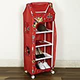 NHR Multipurpose Foldable Baby Wardrobe with Baby Print (5 Shelves, Red)