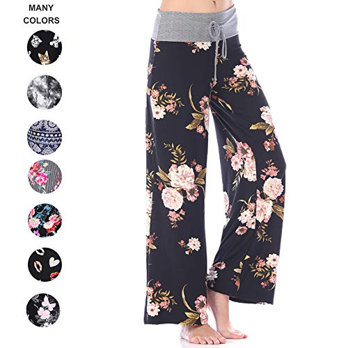 (Buttery Soft Pajama Pants for Women – Floral Print Drawstring Casual Palazzo Lounge Pants Wide Leg for All Seasons (L, Black Flower))