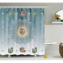 Hippie Decor Shower Curtain by Ambesonne, Pagan Sun Figure with Cats Spiritual Sacred Relax Belief Totem Zen Boho Display, Fabric Bathroom Decor Set with Hooks, 70 Inches, Teal and Light Grey