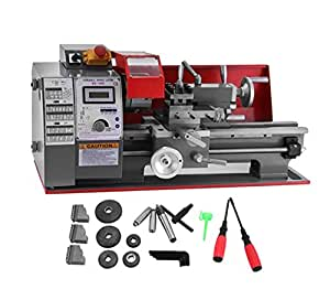 TOTOOL 7x12 Inch 600W Metal Lathe 25mm Tailstock Sleeve Mini Bench Lathe 2 Variable spindle Speed Micro Lathe with All-metal Gears for Mini Precision Parts Processing