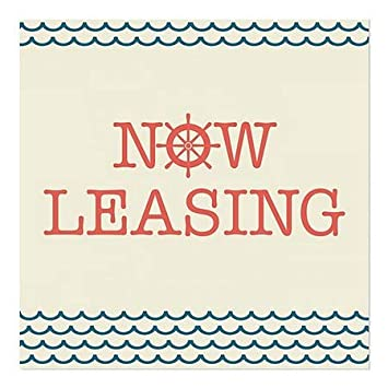 24x24 5-Pack CGSignLab Now Leasing Nautical Wave Window Cling