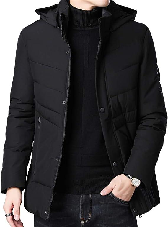 4How Mens Winter Warm Coat Faux Fur Lined Detachable Hooded Parka