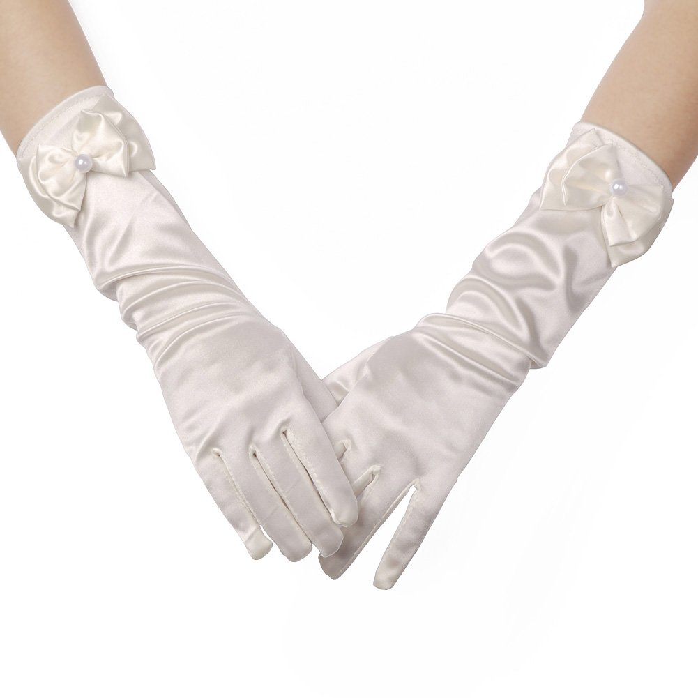 Lusiyu Girl Solid Color Long Elbow Length Formal Pageant Glove