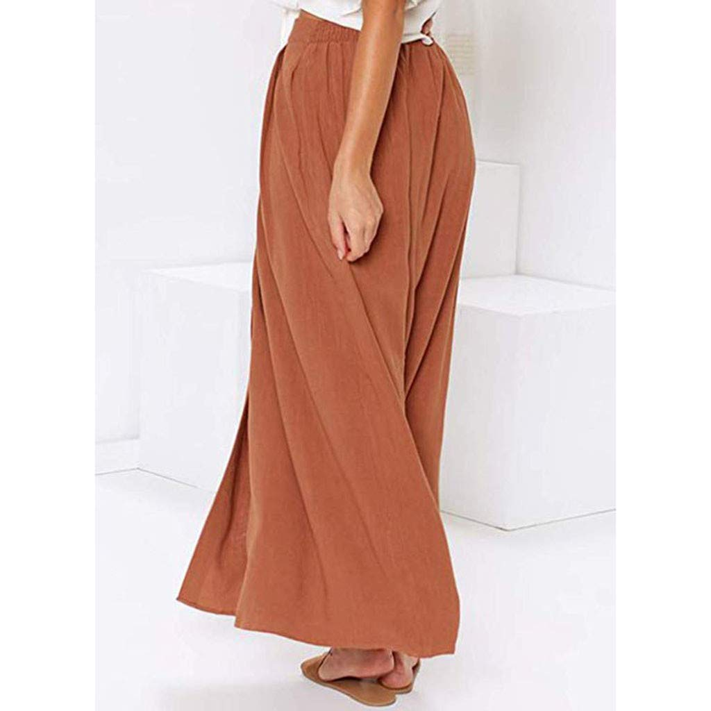 Ximandi Womens Casual Front Button A-Line Skirts High Waisted Maxi Skirt