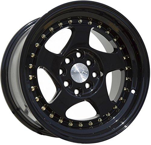 (Aodhan Wheels AH-01: Rim Size 16x8, 4x100/114.3, 73.1, 15 (Full Black (Gold Rivet)))