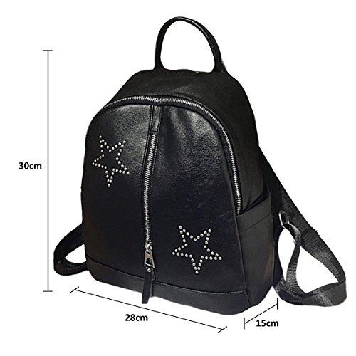 Backpack for Women - Bageek Black Backpack PU Leather Backpack Casual Backpack by Bageek (Image #2)