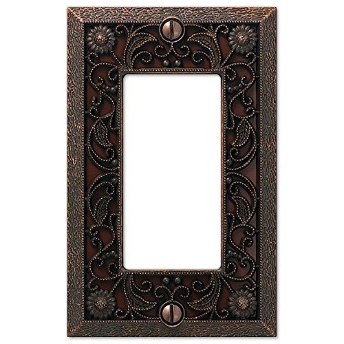 - Filigree Single-GFI Switch Plate in Aged Bronze