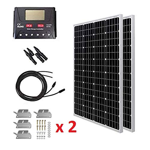 HQST 2 Packs 100 Watt (200W) 12 Volt Monocrystalline Solar Panel Kit with 30A PWM LCD Common Postive Solar Charge Controller, 20Ft 12AWG Solar Cable, 2 Sets Z-Brackets, Solar Branch Connectors