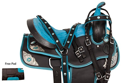 (LIGHT WEIGHT QUARTER BLUE WESTERN PLEASURE TRAIL SHOW BARREL HORSE SADDLE TEXAS STAR CORDURA TACK HEADSTALL REINS BREAST COLLAR (18))