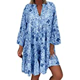 Plus Size Women's Loose Floral Print Dress, Casual Long Sleeve Irregular Hem Holiday Mini Dress Bohemian Sundress S-5XL