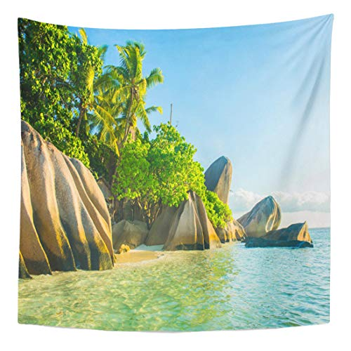 (Semtomn Tapestry Wall Hanging Home Art Beautifully Shaped Granite Boulders Reflecting in The Water at 50
