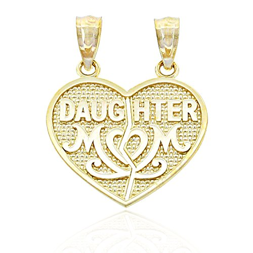 Charm America - Gold Mom and Daughter Break-Apart Charm - 10 Karat Solid Gold