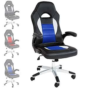 TecTake Silla de escritorio de oficina, Racing - disponible en diferentes colores - (Negro