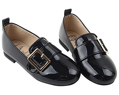 Milky Walk Belt Buckle Girl's Dress Party Flat Loafer (Toddler/Little Kid) (2.5 M US Little Kid, Black)