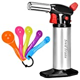 Kitchen Torch Swiftrans Culinary Torch for Cooking&Baking Blow Torch with Safety Lock and Adjustable Flame -5 Set of Measuring Spoons as Gift