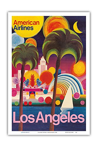 Pacifica Island Art Los Angeles, California - American Airlines - Vintage Airline Travel Poster c.1960s - Master Art Print - 12in x 18in