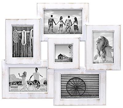 Malden International Designs Berkshire Beveled Wall Collage Picture Frame, 6 Option, 3-4x6 & 2-3x5 & 1-3x3, White